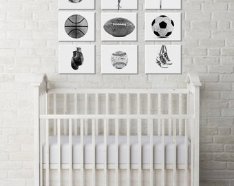 White Background Sports Collection Black and White or Color Set of Nine Canvas Prints  Ready to Hang, Sports Nursery, Rustic Sports Decor