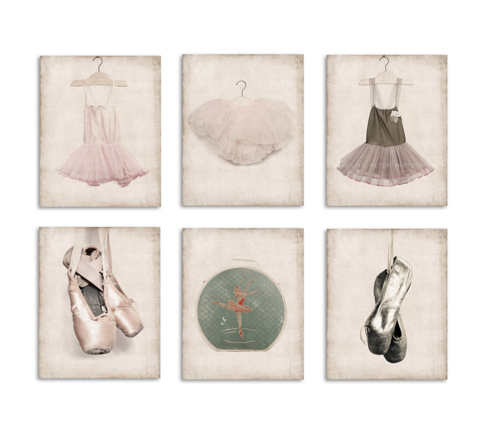 six canvases ready to hang, ballet inspired prints, girls wall art, girls ballet decor, girls nursery art