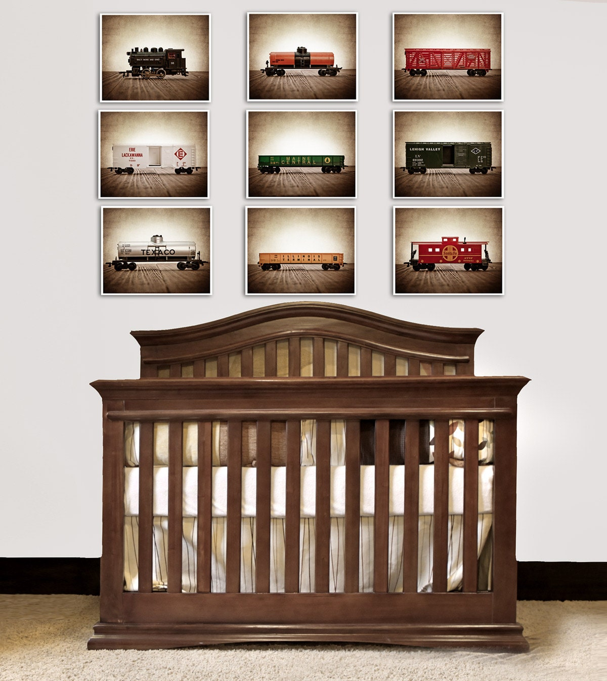 Train Decor for Boys Room, Vintage Toy Trains set of Nine Photo Prints, Boys Nursery Decor, Rustic Decor Toy Trains, Baby room ideas