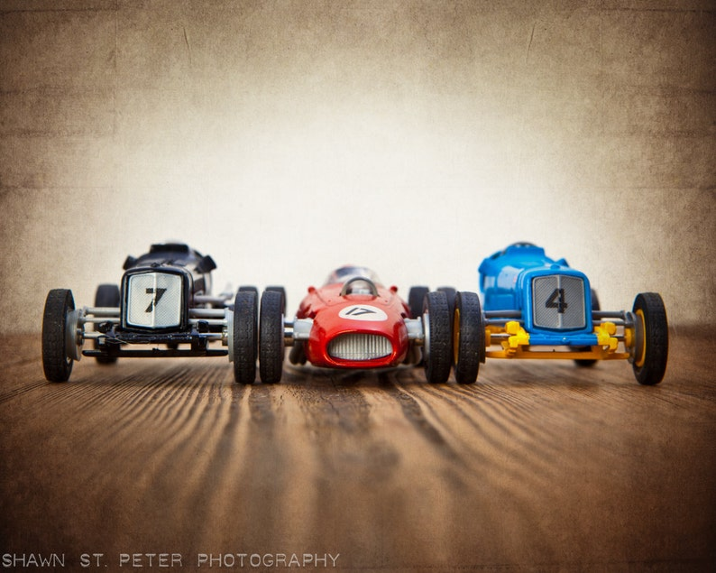 Vintage Toy Race Cars 3 Cars Lined Up Photo Print Boys Room Etsy