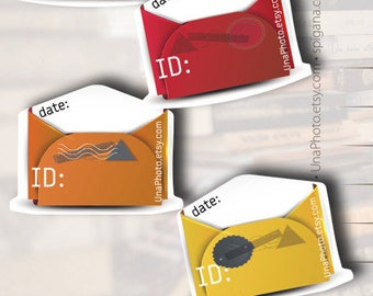 Postcard ID and DATE stickers - color envelopes, Postcard stickers for Postcrossing. Set of 20
