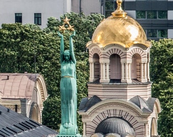 The Freedom Monument and Riga Nativity of Christ Orthodox Cathedral Postcard for Postcrossers. Fine Art Photography or Canvas Print
