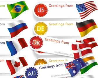 Greetings from Sticker Postcard ID Flag Sticker for Postcrossing. Any Country Min Set of 20