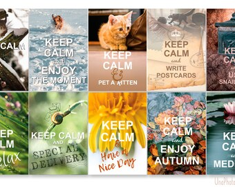 Set of 10 KEEP CALM and... Postcard for Postcrossing. Use Snail mail. Relax. Enjoy the moment. Enjoy the autumn. Meditate. Have a nice day