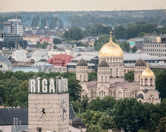 Riga Nativity of Christ Orthodox Cathedral Postcard for Postcrossers. Fine Art Photography or Canvas Print