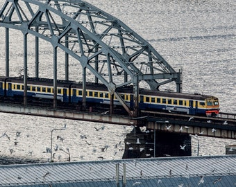 Train on the railway bridge Fine Art Photography for Postcrossing or Canvas Print
