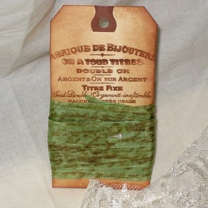 Distress Gift Tag Assorted Seam Binding French Script Seam Binding Distressed Seam Binding Vintage Color Ribbon Hand Stamped Ribbon