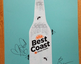 Autographed Best Coast Gig Poster, screen print signed by Bethany Cosentino & Bobb Bruno