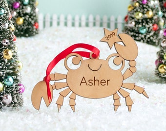 Crab Wood Christmas Ornament Personalized, Baby's First, Kids 2021