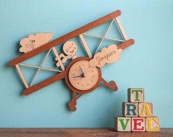 Airplane Wood Nursery Wall Clock: Personalized Baby Kids