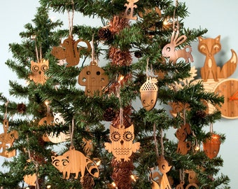 Wooden Animal Ornaments: Woodland Christmas Owl, Fox, Hedgehog, Ocean Shark, Fish, Turtle, Arctic Moose, Polar Bear, Penguin (Choice of 2)