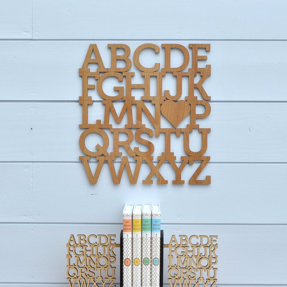 Wood Alphabet Wall Hanging Abc Baby Nursery Theme Decor