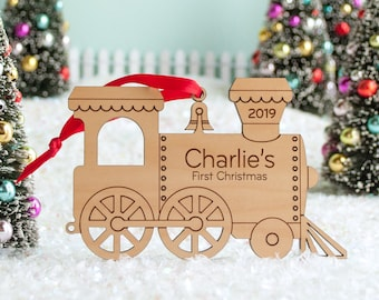 Train Engine Wood Christmas Ornament Personalized, Baby's First, Kids 2021