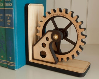 Wood Gear Industrial Bookend: Wooden Mechanical Engineer Gift Steampunk Gear, Office Organizer Personalized for Men, Dad, Father Gift (1)