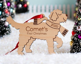 Goldendoodle Dog Wood Christmas Ornament Personalized, Puppy's First, Kids 2021