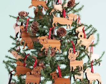 Mini Dog Wood Christmas Ornaments (Set of 6) Dog Lover Hostess Gift, Kids, Family, Bamboo Wood Gift Tags