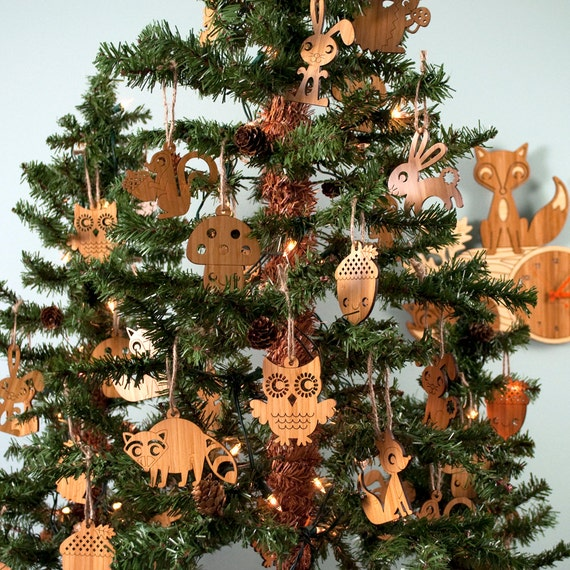 image 0 - Wood Animal Ornaments: Woodland Christmas Bamboo Owl Fox Etsy