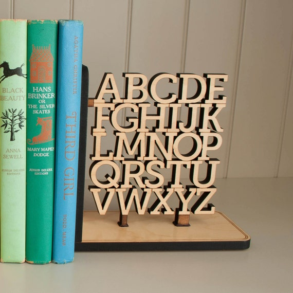 Wooden Alphabet Nursery Bookend Abc Room Decor Wood Letters Etsy