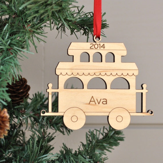 Wooden Train Car Ornament: Personalized Name & Date, Kids, Family, Baby's  First Christmas 2019 (CABOOSE)