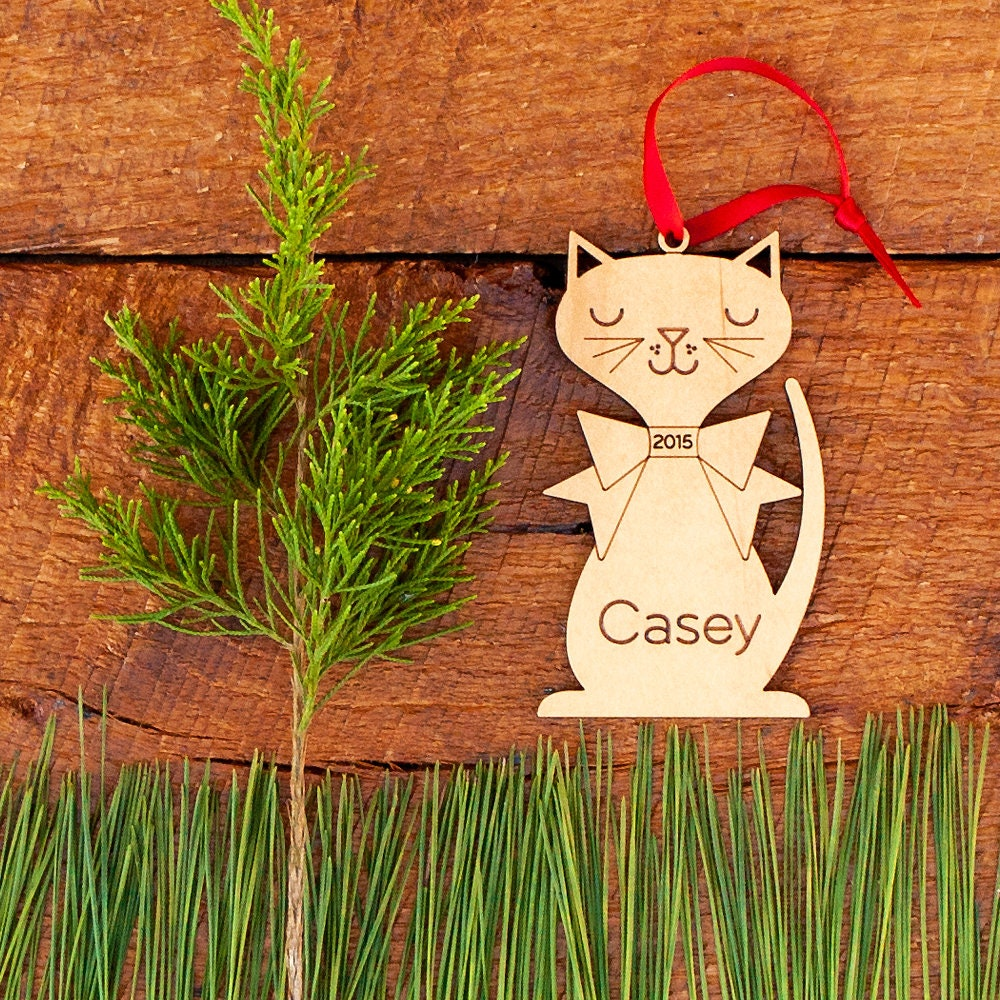 Personalized Cat Ornament: Wood Christmas Kitten Ornament 2019 for Pet or  Kids, Boy or Girl