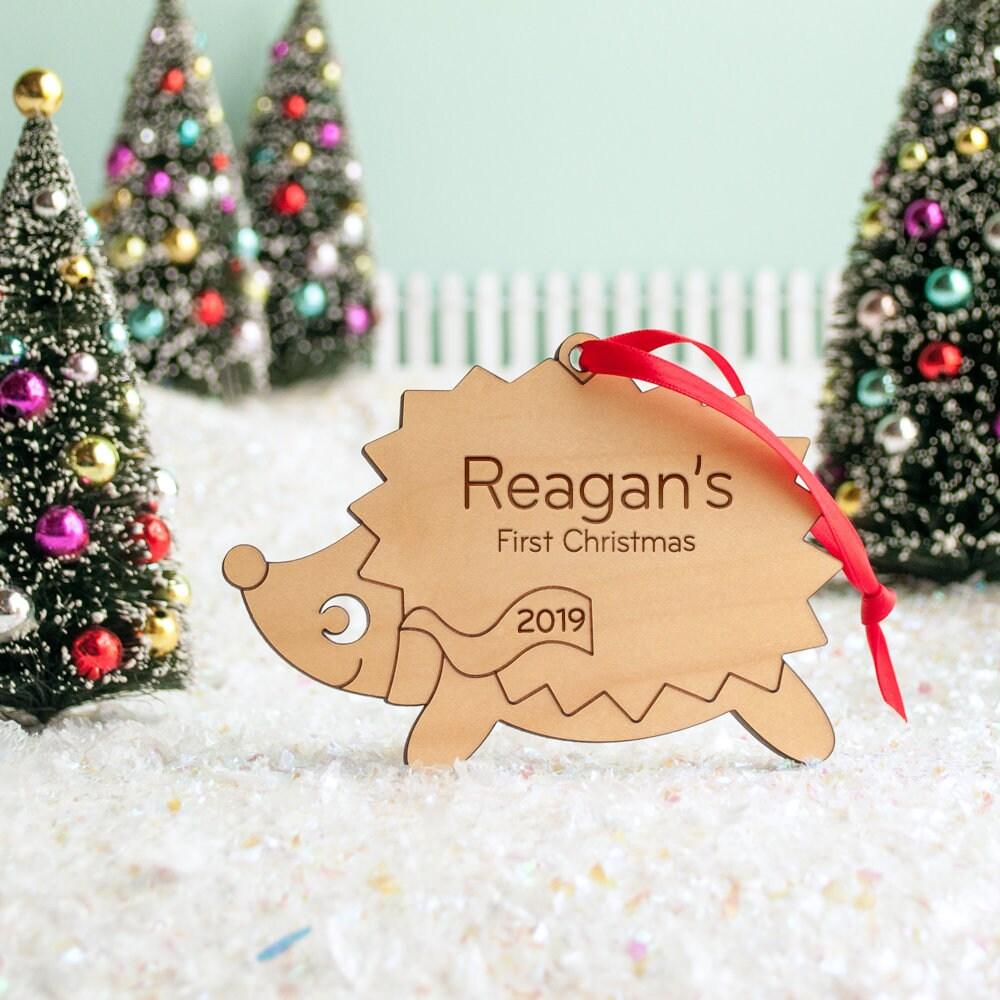 Hedgehog Christmas Ornament 2021 Hedgehog Wood Christmas Ornament Personalized Baby S First Kids 2021