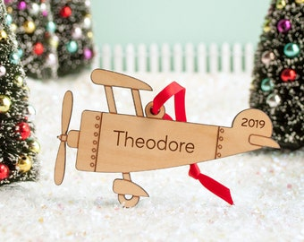 Airplane Ornament Wood Personalized, Baby's First Christmas 2021, Kids