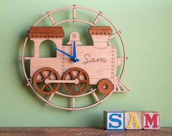 Train Wood Nursery Wall Clock Personalized, Baby Kids