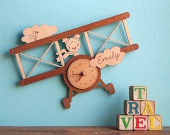 Airplane Wood Nursery Wall Clock Personalized, Baby Kids