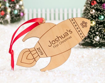 Rocket Wood Christmas Ornament Personalized, Baby's First, Kids 2021