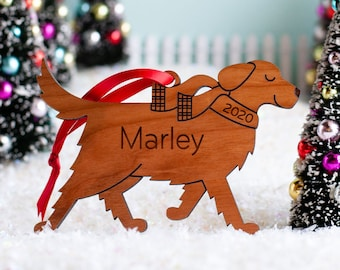 Golden Retriever Dog Wood Christmas Ornament Personalized, Puppy's First, Kids 2021