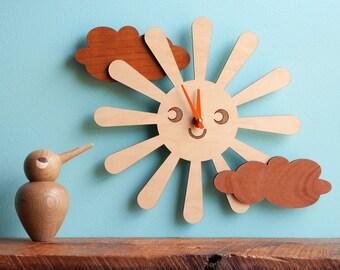 Happy Sun Wood Wall Clock