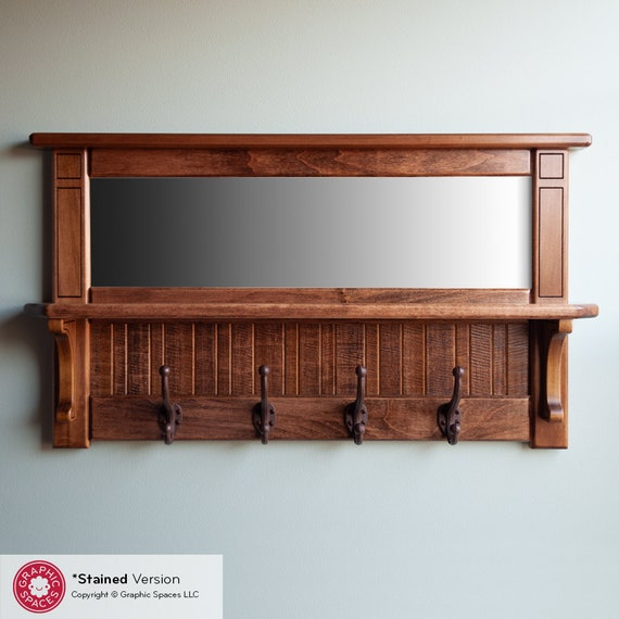 Wall Mirror Shelf Coat Rack With, Entryway Mirror With Coat Hooks
