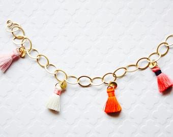 Colorful Tassel Bracelet, Colorful Tassel Bracelet, Matte Gold Plated Tassel Bracelet, Fiber Tassels, Colorful Tassels, Ready to Ship