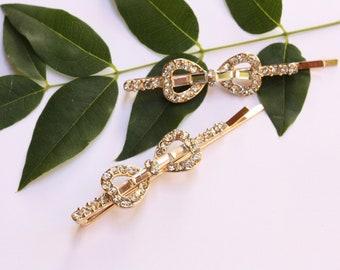 Bridal Bow Hair Clips, Rhinestone Hair Pins, Ready to Ship