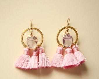 Pink and Pretty Tassel Earrings, Amethyst Stone Earrings, Handmade Fiber Earrings, Limited Edition, Ready to Ship
