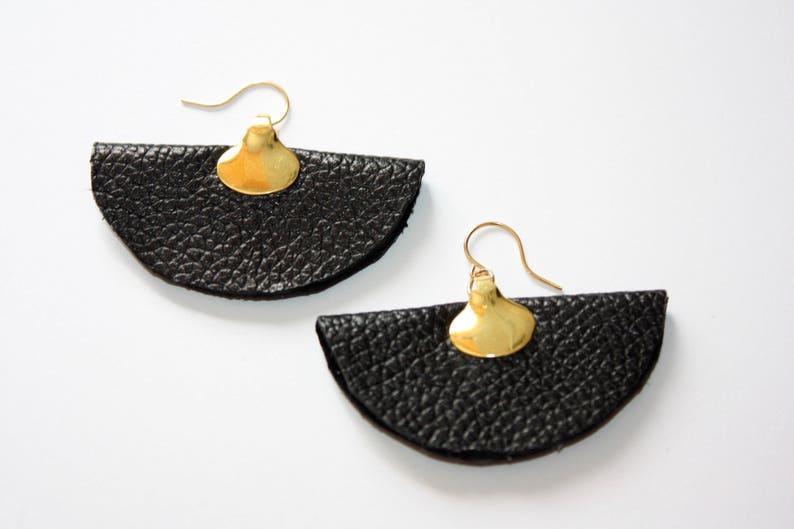 Black Leather Fan Earrings Modern Leather Earrings Catilla Jewelry Handmade Leather Earrings