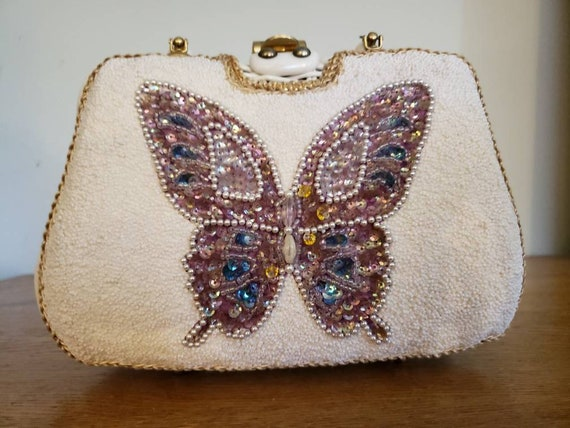 Fab 1960s White Wicker Purse with Crazy Buteerfly