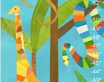 In the Jungle   Personalized Growth Chart, Children's Animal Illustration for Kids Room or Nursery, Baby Shower or First Birthday Gift