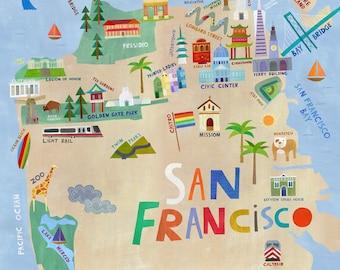 San Francisco Illustrated City Map | Giclee Art Print, San Francisco Souvenir or Gift