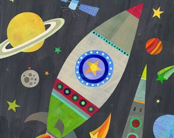 Rocket Ship to the Moon    Outer Space Giclee Art Print for Boy's Room, Girl's Room or Nursery
