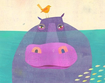 Underwater Hippo | Animal Art Print, Children's Illustration Perfect for Nursery or Bedroom