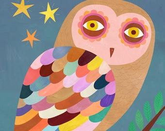 Owl at Twilight Illustration   Giclee Art Print for Girl's Room, Boy's Room or Nursery