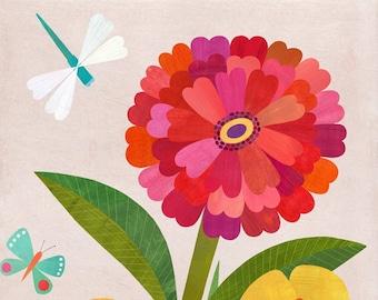 Zinnia Garden   Flower Art Print on Paper