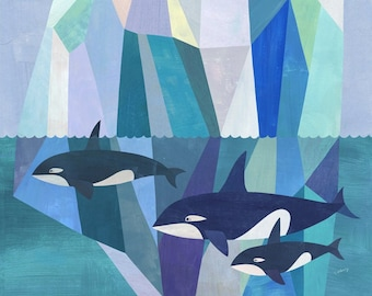 Arctic Adventure | Geometric Seascape with Orcas, Giclee Art Print on Paper