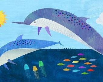 Sunshine Dolphin Dive | Giclee Paper Art Print for Kid's Room, Nursery or Beach House