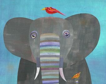 Colorful Elephant | Giclee Art Print for Kids Room or Nursery, Children's Illustration, Elephant Decor