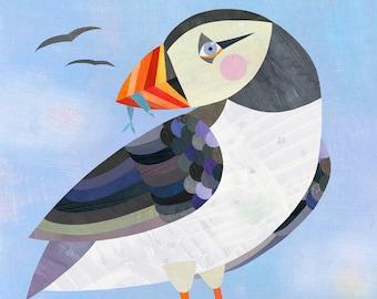 Puffin Art Print | Giclee Bird Print, Winter Illustration, Arctic Decor