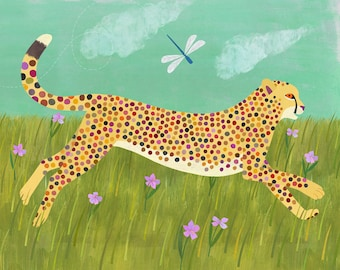 Cheetah Run | Giclee Print, Safari Themed Art for Kids Room or Nursery