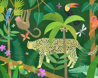Leopard in the Jungle   Nursery Art Print, Jungle Animal Art, Kids Room Decor