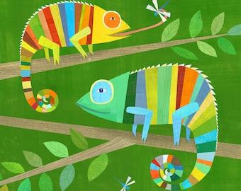 Striped Chameleons | Giclee Art Print, Lizard Illustration for Boy's Room or Gender Neutral Nursery, Baby Gift